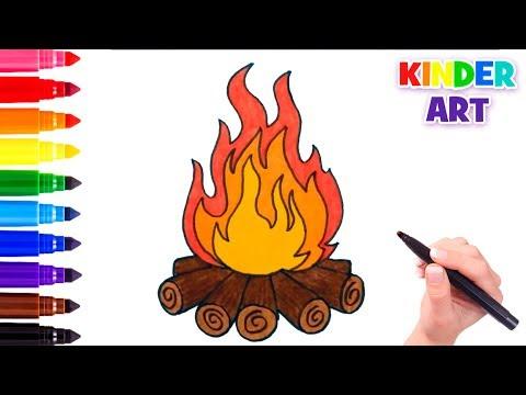 Как нарисовать костер с дровами