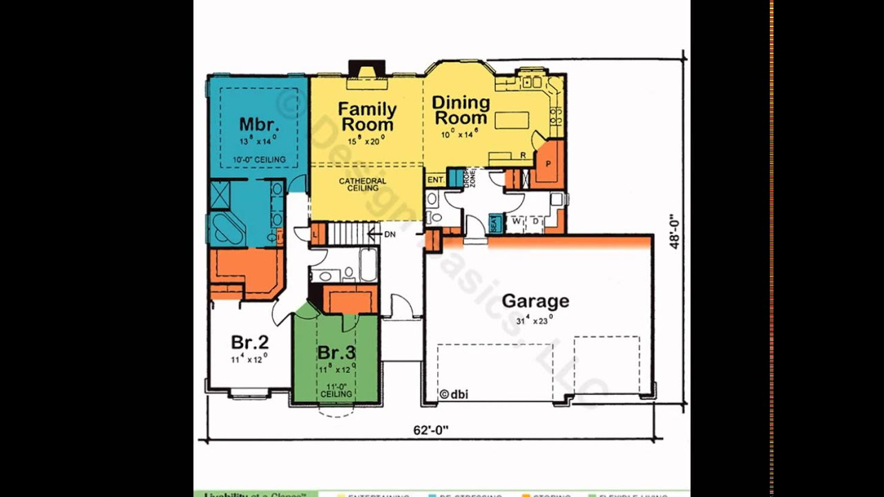 One Story House Plans  House Plans One Story  4 Bedroom