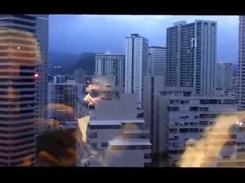 Honolulu boat harbor & buildings