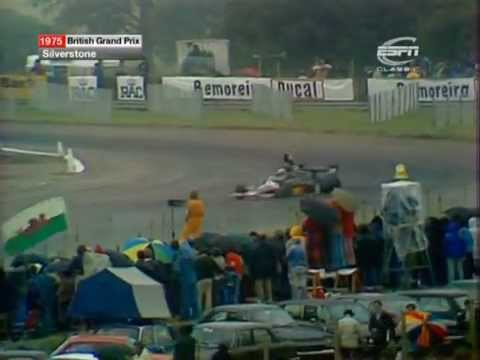 Tom Pryce crashes out from lead at Silverstone(1975)