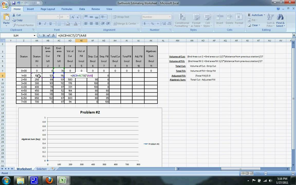 Earthwork Mass Diagram Excel Sheet Wire Estimating Example 2