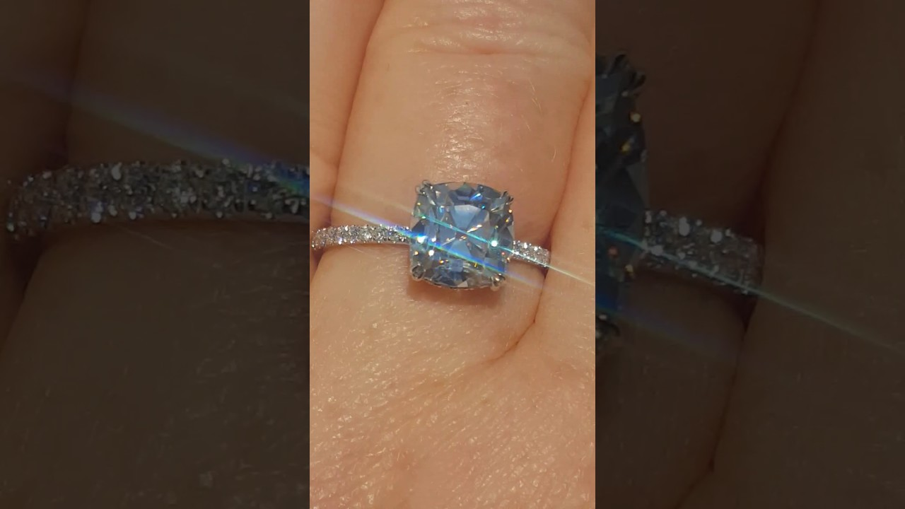 Old Mine Cut Omc Moissanite In Diamond Solitaire