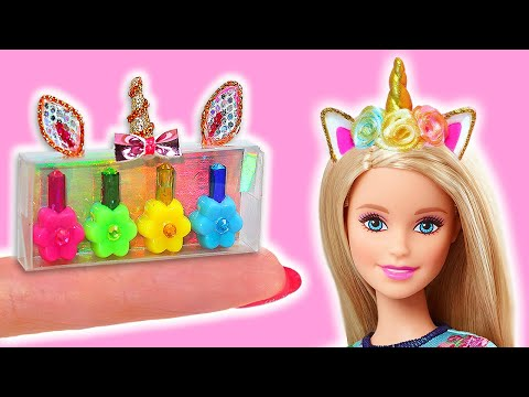 24 DIY BARBIE HACKS AND CRAFTS ~ Miniature Shoes, Backpacks, Pencil cases, Cosmetics,  Supplies