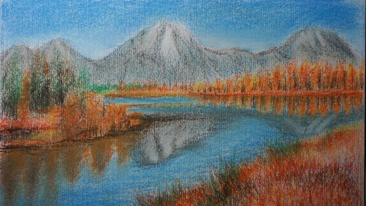 Paisaje Para Niños Fácil Cómo Dibujar Montañas árboles Y Un Lago
