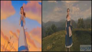 Beauty and the Beast Belle Reprise Somewhere 2017 vs 1991 HD