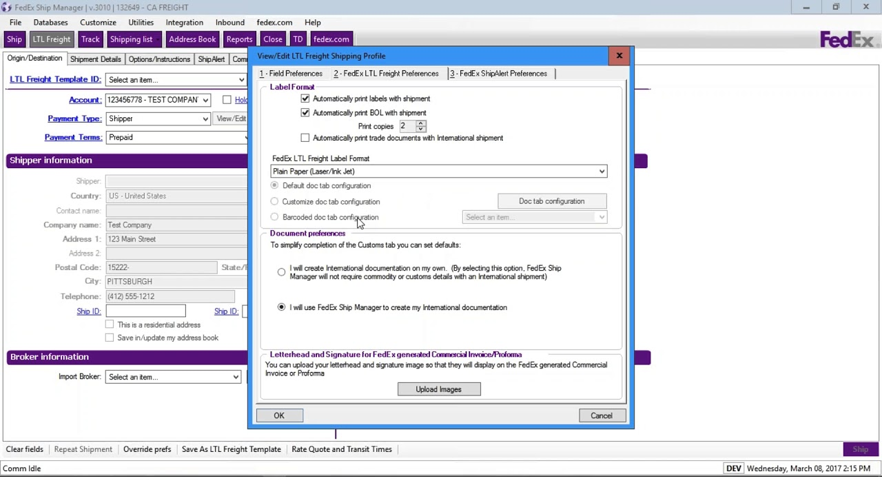 Fedex Freight Quote Setting Your Ltl Freight Preferences With Fedex Ship Manager