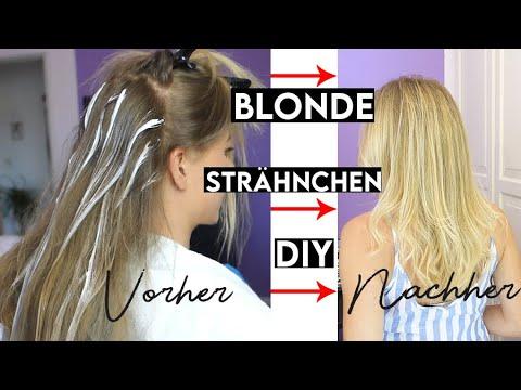Färben blonde strähnen selber Strähnchen ganz