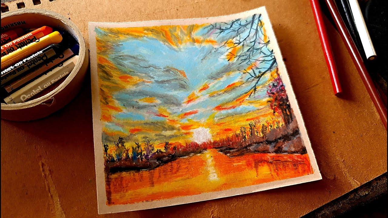 Cách vẽ phong cảnh mặt trời lặn với bút sáp dầu và bút chì màu