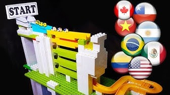 Marble race: Track course with funnels and halfpipes - championship with countries balls