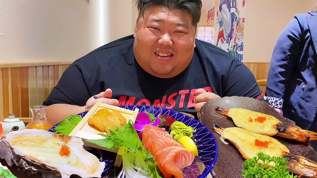 鳗鱼饭拉面配寿司,猴哥第一次吃日料,三文鱼刺身当饭吃,过瘾!【胖猴仔】