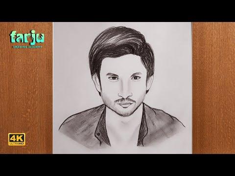 Sushant Singh Rajput Sketch | how to draw sushant singh rajput step by step