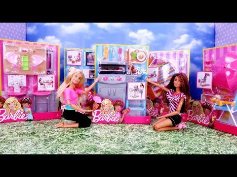 Marivobox #8 * NEW BARBIE FURNITURE - ACCESORIES *  Unboxing with dolls Hammock TV Grill