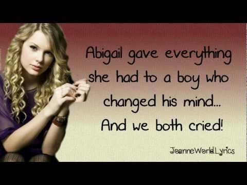 Taylor Swift- Fifteen (Lyrics Video) HD