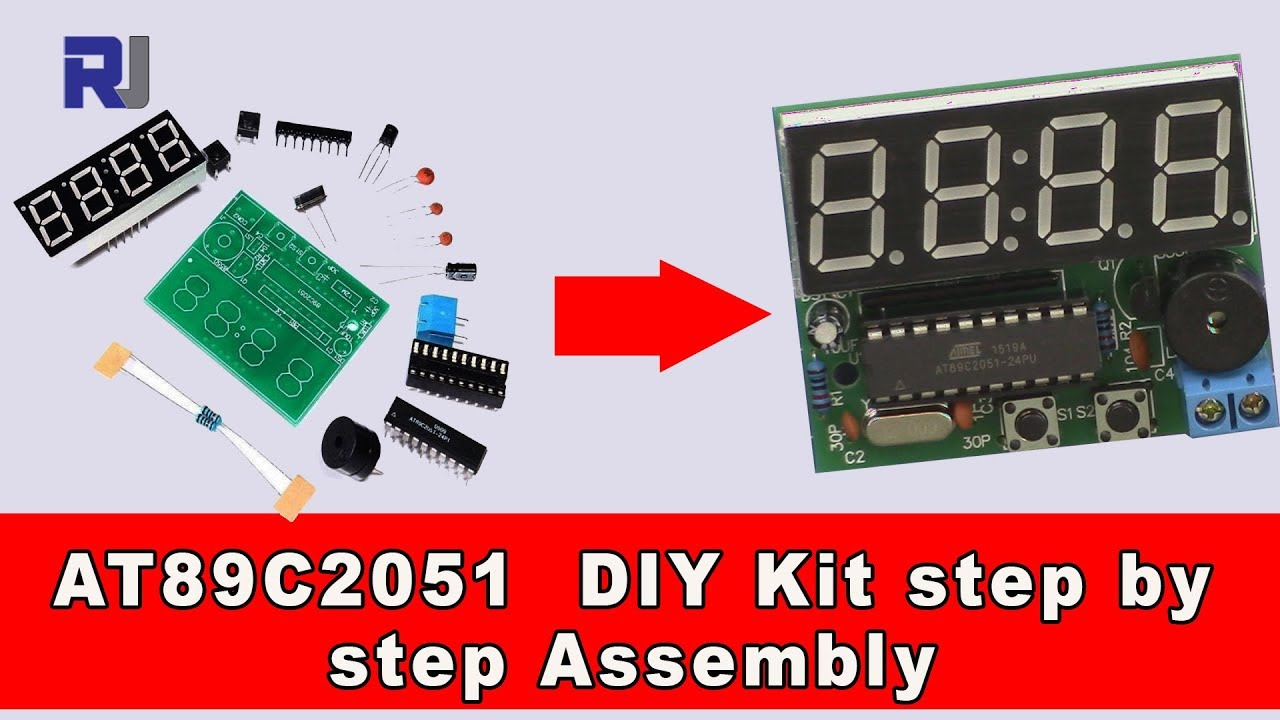 digital clock at89c2051 diy electronics kit step by step assembly