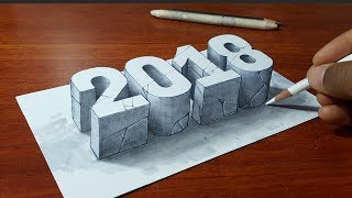 Happy New Year 2018 - 3D Letters - Stone 2018