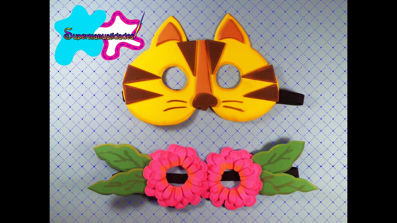 Antifaz de fomi (Gatito y flores) ∞SUPERMANUALIDADES∞ - YouTube