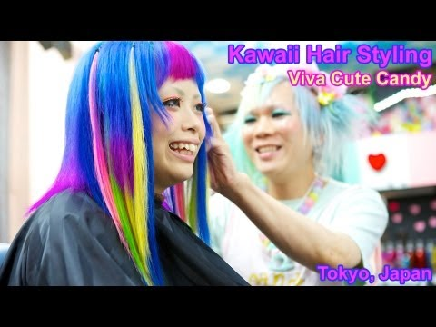 Kawaii & Colorful Japanese Hair Styling at Viva Cute Candy Salon in Tokyo