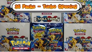 turbo opening xy evolutions booster box all 36 packs pokemon tcg unboxing