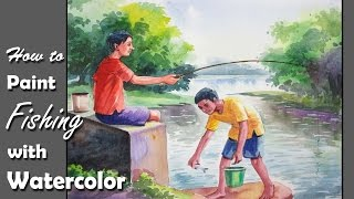Watercolor Painting | How to Draw and Paint Fishing | step by step
