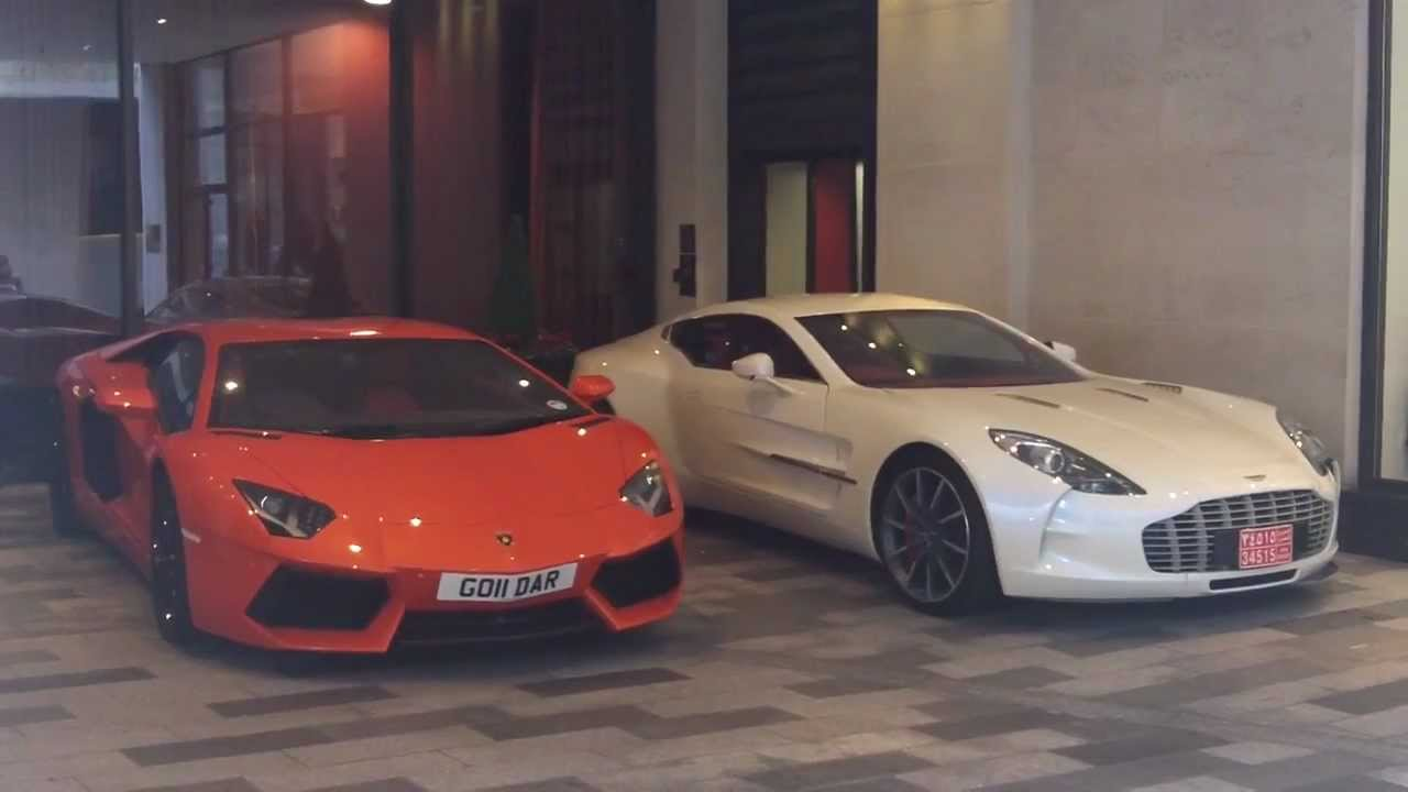 HD) AVENTADOR & ASTON MARTIN ONE-77 THER IN LONDON!! - YouTube