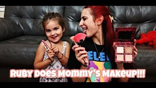 Ruby Does Mommy's Makeup!!! Ohhh Noooo!!! What A Hot Mess LOL!!!