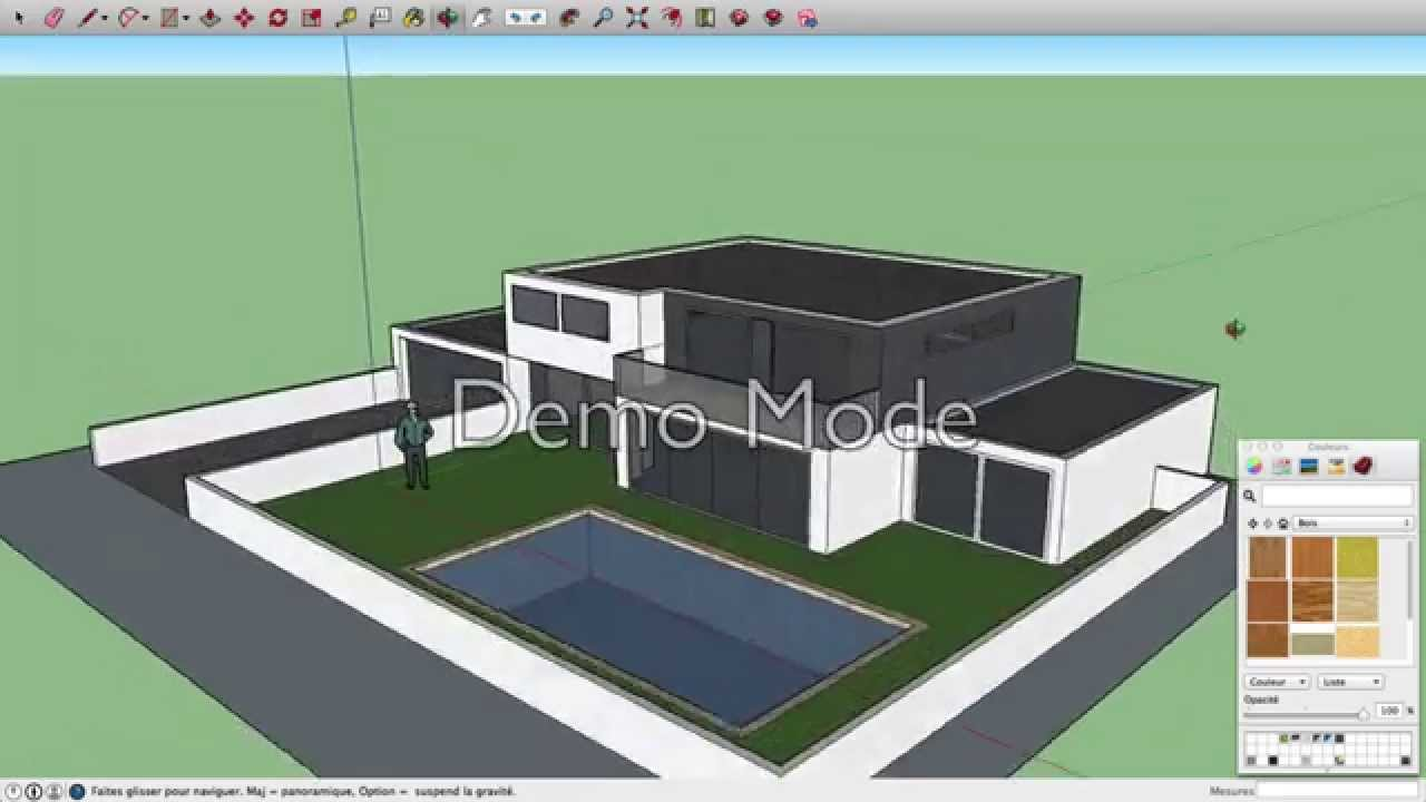 sketchup maison moderne youtube. Black Bedroom Furniture Sets. Home Design Ideas