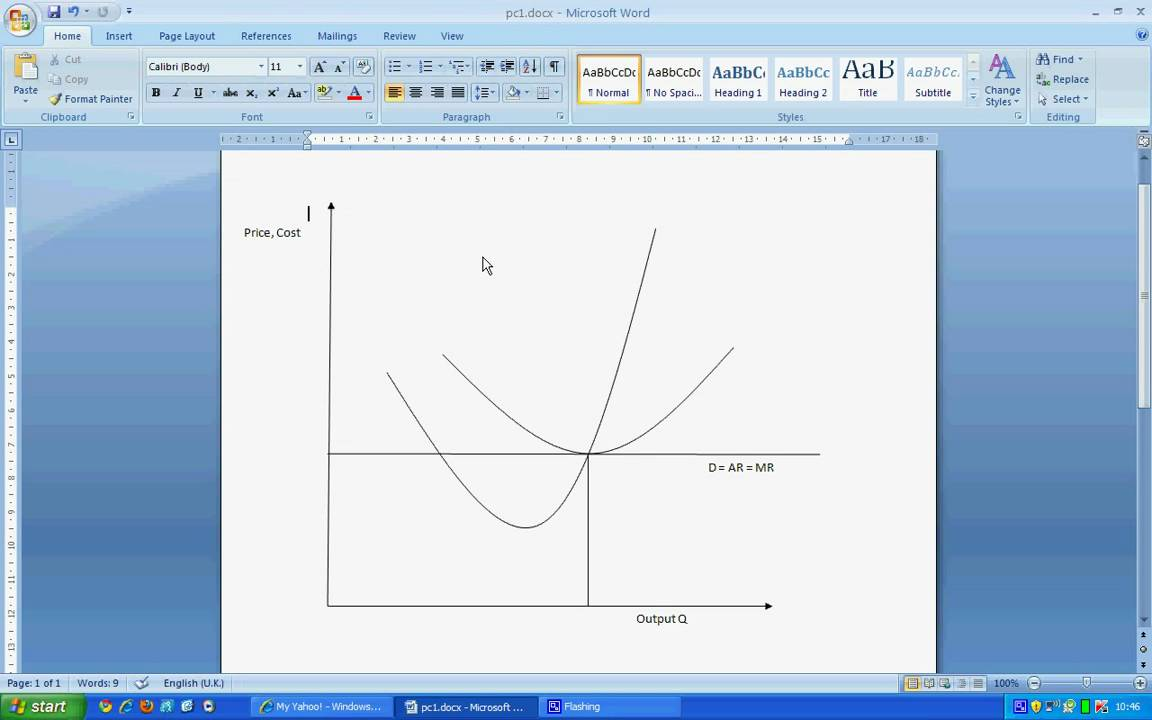 Drawing Perfect Competition Diagram in Microsoft Word