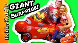 Worlds Biggest CARS Surprise Egg! Lightning McQueen Disney + Minecraft Surprise Toys HobbyKidsTV