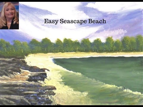 Acrylic painting Seascape Beach Lesson 1 for the beginner, Sky, Wispy clouds and trees.
