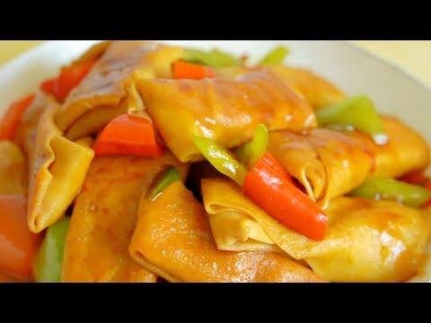 豆腐皮加肉沫做美食,荤素搭配,鲜嫩多汁,营养更丰富