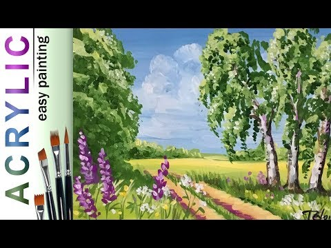 Easy art lesson how to paint LANDSCAPE! How paint with Acrylic tutorial for beginners!