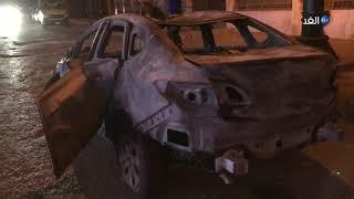 مشاهد حية  بعد إخماد الحريق الناتج عن انفجار سيارة بجوار معهد الأورام بالقاهرة