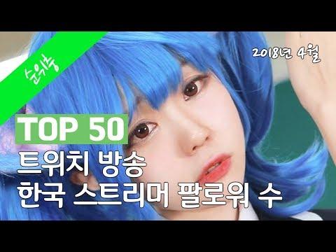 트위치 방송 한국 스트리머 팔로워 수 TOP 50