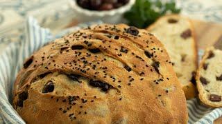 Greek Homemade Olive Bread: Eliopsomo