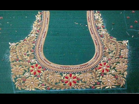 New Maggam Work Blouse Neck Designs 2019   Hand Embroidery Designs For Sleeves