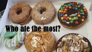 who ate the most donuts   leg day at alphalete with a donut review by christian guzman