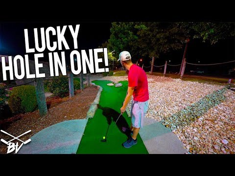 I CAN'T BELIEVE I GOT THAT LUCKY MINI GOLF HOLE IN ONE!