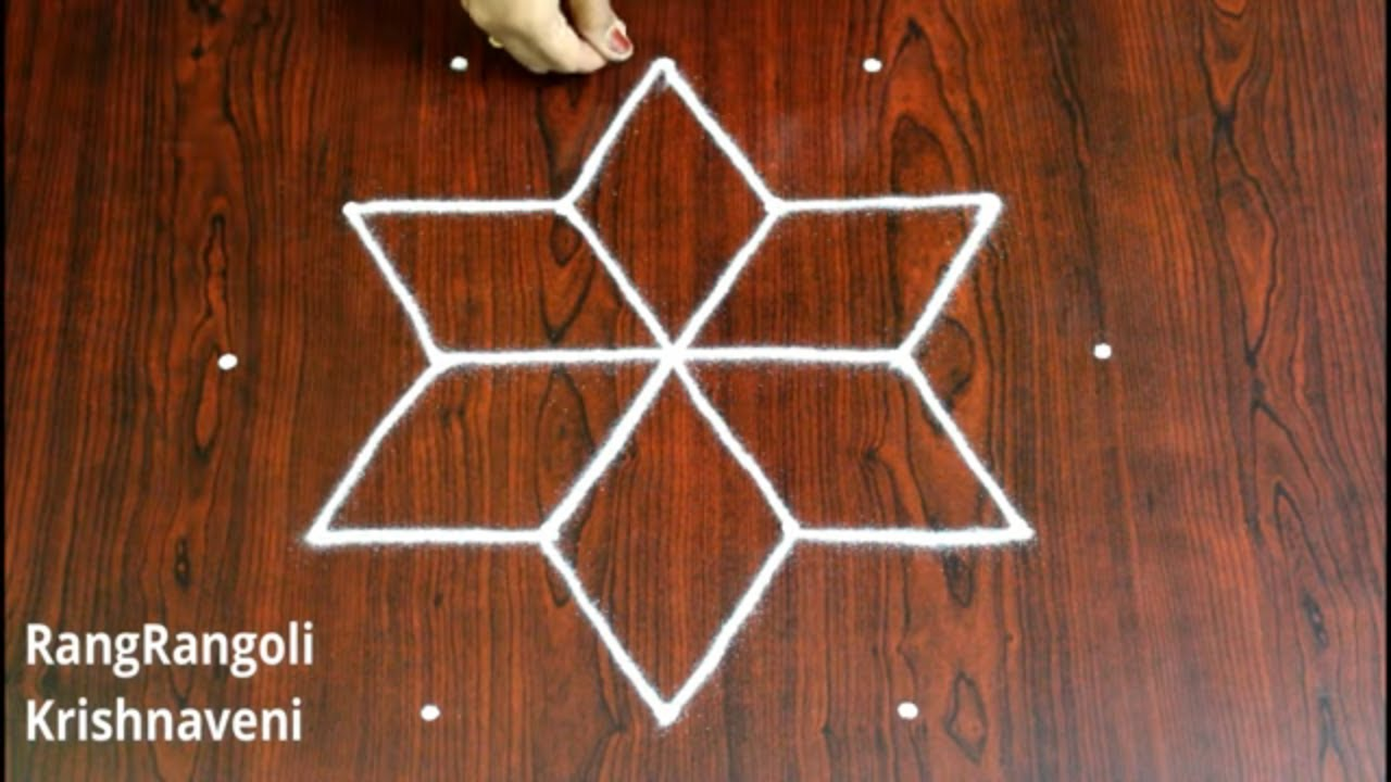 Easy Rangoli for Navratri | Festival Kolam for Beginners |Dussehra Muggulu with 5*3 dots|RangRangoli