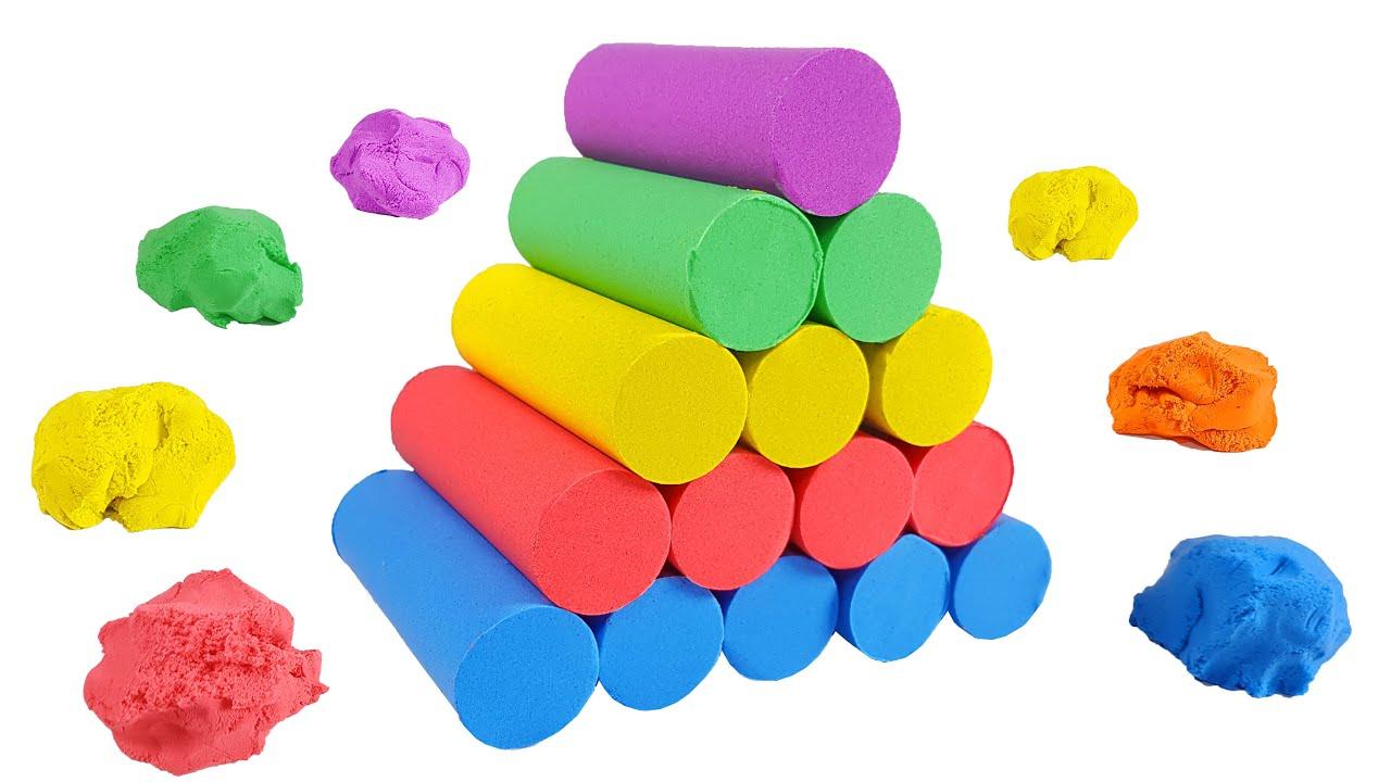 핑크퐁, 아기상어, 라바 / 키네틱 샌드로 무지개 원기둥 탑 쌓기 놀이