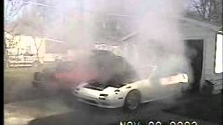 RX7 Rotary 9000 rpm, engine blows, fire