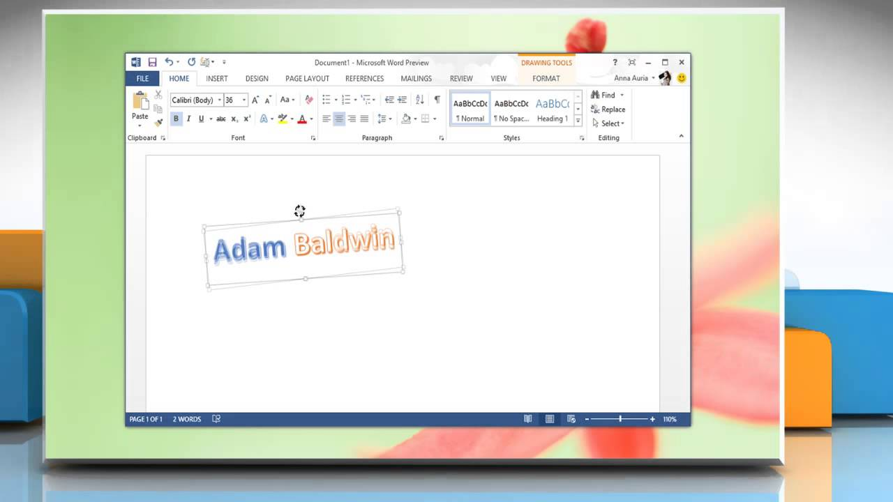 How to rotate a WordArt Object in Microsoft® Word 2013 on ...