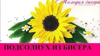 Подсолнух из бисера. Мастер-класс. Урок 1 - Цветок /  Beaded Sunflower (How to make)(Посмотрев это видео, Вы сможете плести подсолнух из бисера. БИСЕР, РУБКА, СПИННЕР, ПРОВОЛОКА и товары для..., 2017-02-24T08:07:22.000Z)