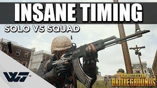 INSANE TIMING - Aggressive Solo vs Squad - PUBG