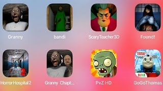 Granny,Branny,Scary Teacher 3D,Found!,Horror Hospital 2,Granny 2,Plants Vs Zombies,Temple Run,Zombie