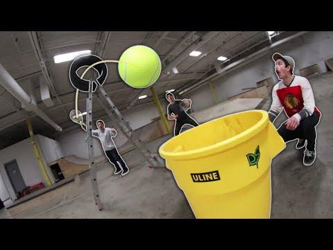 GIANT TENNIS BALL TRICK SHOTS!