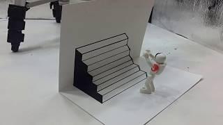 Belajar cara menggambar 3D di kertas untuk pemula yang mudah | GAMBAR TANGGA NAIK