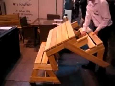 The folding table Garden Bench which converts to a Picnic