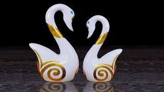 DIY Swan Couple Sculpture Home Decor // showpiece gift ideas