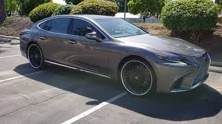 2018 2019 Lexus LS 500 Staggered Black Forged 3 Piece 24 inch wheels 4K