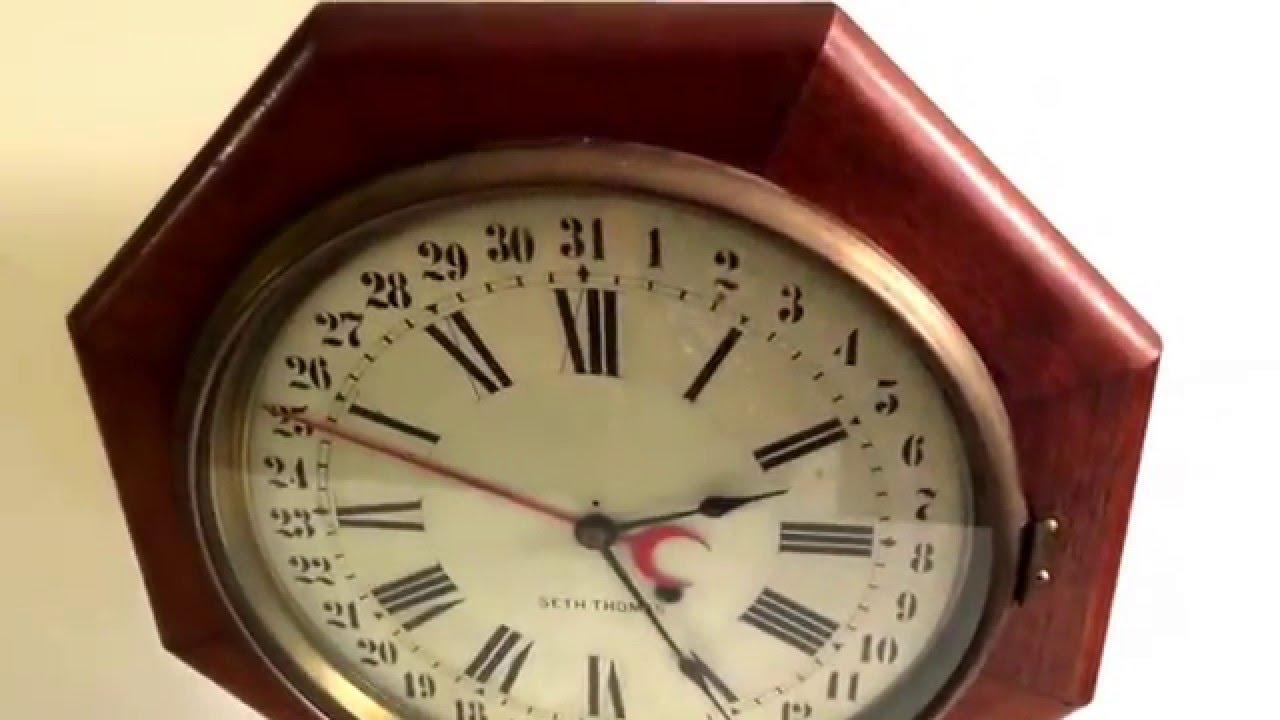 Vintage Seth Thomas Schoolhouse Regulator Clock Calendar Antique